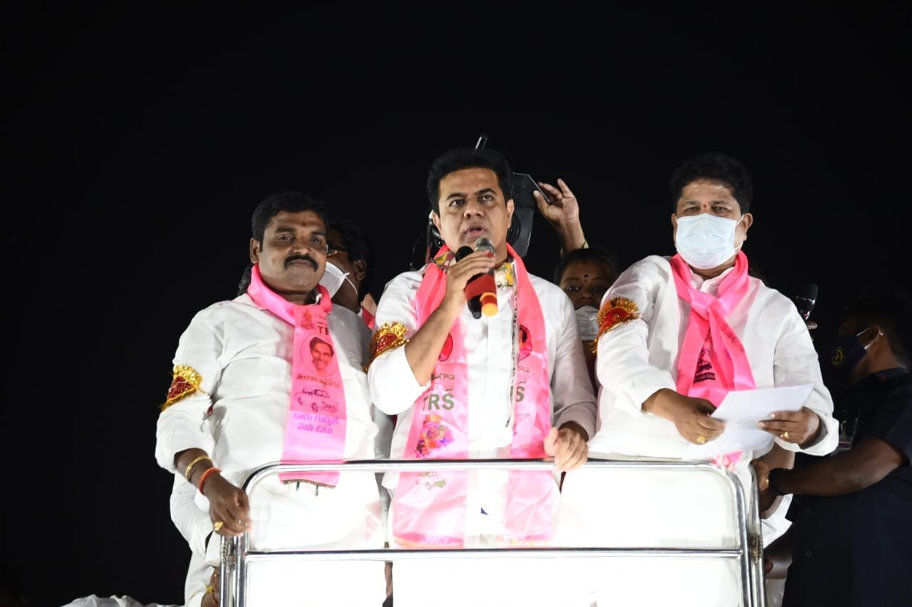 ktr made harsh comments on bjp party in election campaign