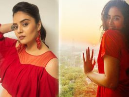 Sreemukhi Red Dress New Pictures