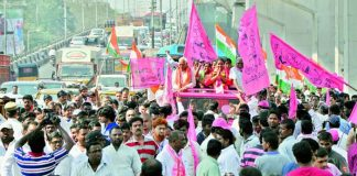 protests against trs in ghmc elections campaign
