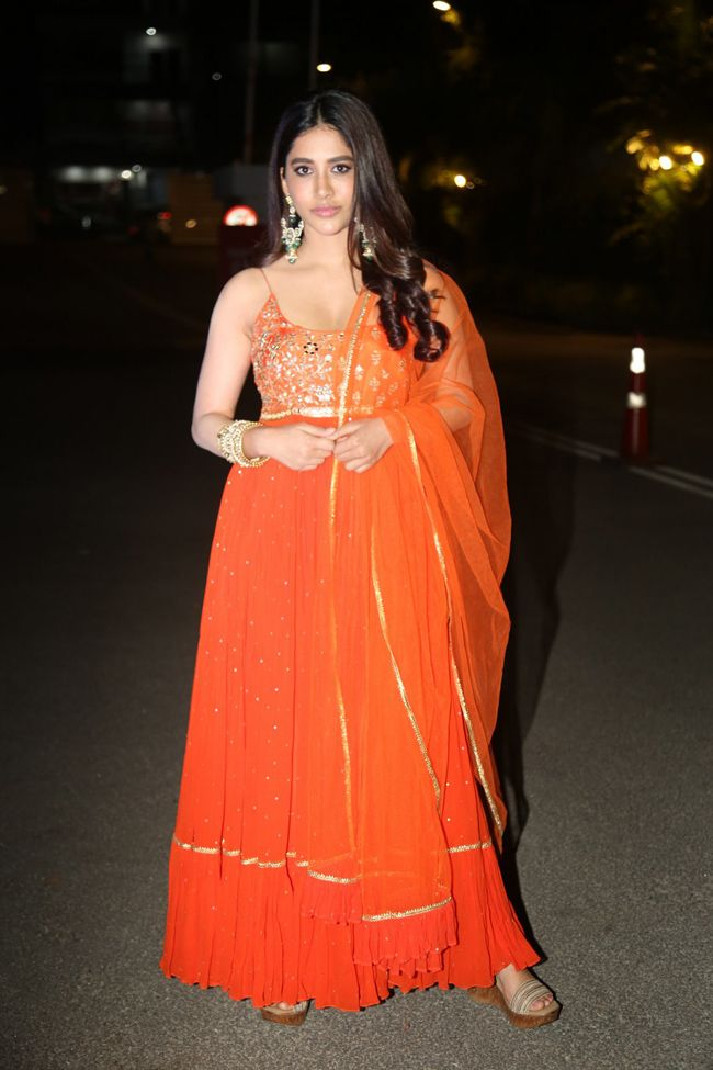 Nabha Natesh Orange Dress Pics