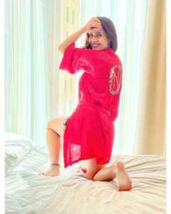 Neha Malik Red Dress Stills 15 1   Telugu Rajyam