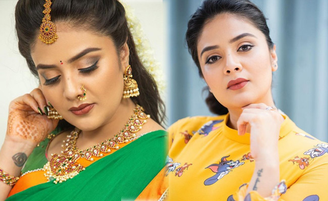 Sreemukhi New Pics in a Green and Yellow Dree
