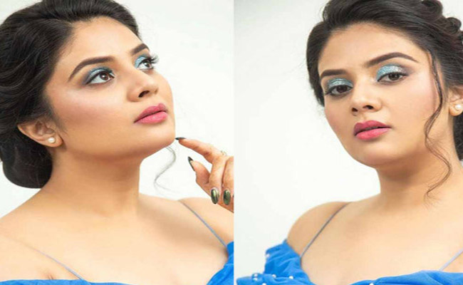 Sreemukhi is Awesome Looks In a Blue Dress